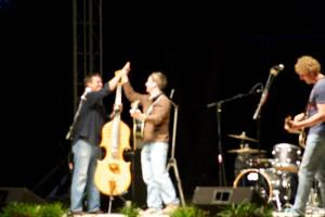 A blurry photo of me playing with my old professor, Mark Bryan (Hootie & the Blowfish, right) and his band, The Occasional Milkshake.